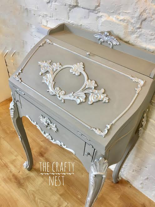 French Provincial Chalk Painted Writing Bureau Grey And White