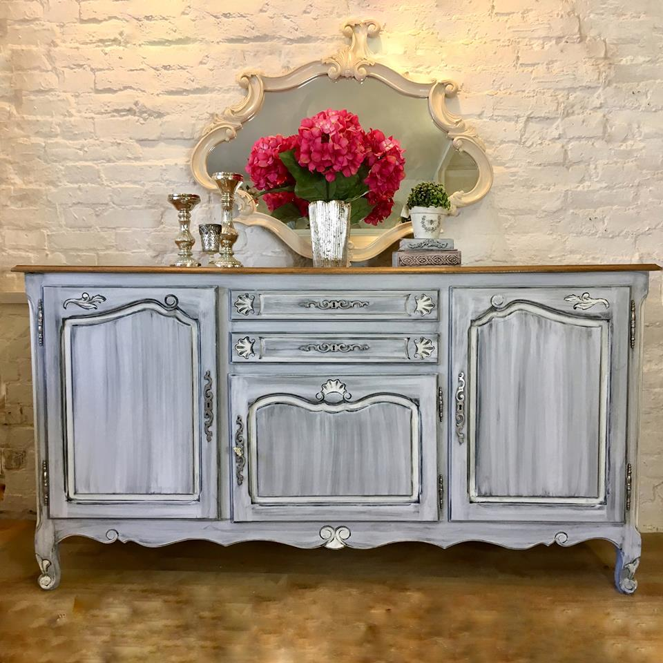 Antique Oak French Provincial Sideboard